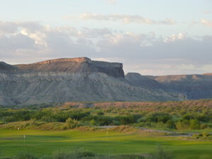 Golf course with Chisos mountains