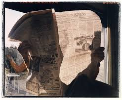 """Portrait of my Father with Newspaper,"" 1986, by Larry Sultan"