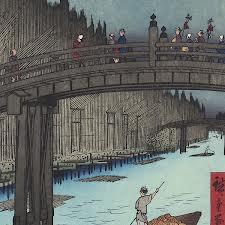 """Bamboo Yards, Kyobashi Bridge,"" by Utagawa Hiroshige"
