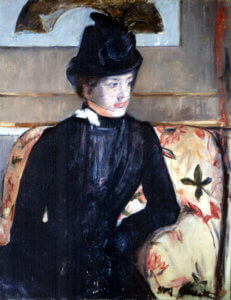 """Young Woman in Black (Portrait of Madame J),"" 1883, by Mary Cassatt"
