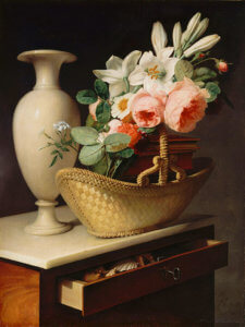 """Bouquet of Lilies and Roses in a Basket on a Chiffonier,"" 1814, by Antoine Berjon"