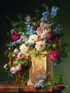 """Basket of Flowers on an Alabaster Pedestal,"" 1785, by Gerard Van Spaendonck"