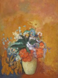 """Flowers in a Vase,"" 1905, by Olilon Redon"