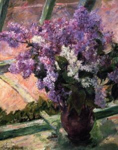 """Lilacs in a Window,"" 1880-83, by Mary Cassatt"