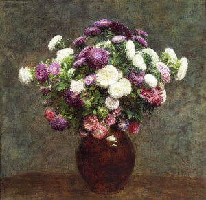 """Asters in a Vase,"" 1875, by Henri Fantin-Latour"