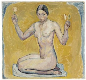 """Kneeling Nude on Yellow Ground,"" by Cuno Amiet"