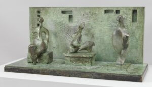 """Three Motives Against a Wall No.1"" 1958, by Henry Moore"