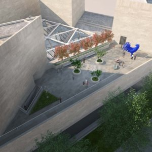 Aerial view of the NGA roof terrace